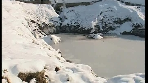 Lacurile sărate de la Telega au îngheţat în această iarnă / Foto: Realitatea TV