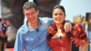 Antonio Banderas şi Salma Hayek promovează filmul Puss in Boots / FOTO: hepta.ro