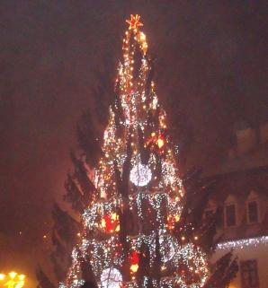 Un brad de 25 de metri a fost montat în Piaţa Sfatului din Braşov.