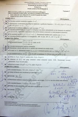 Bacalaureat 2012 subiecte matematica M1