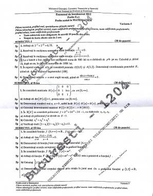Bacalaureat 2012 matematica m2 - subiecte 4 iulie