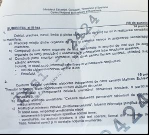 Bacalaureat 2012, subiect 3 biologie, varinata 1