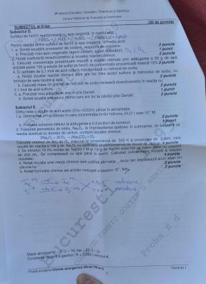 Bacalaureat 2012 subiecte chimie