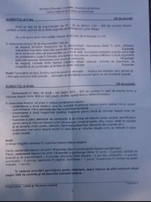 Subiecte Bacalaureat 2012 proba romana scris