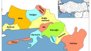 Localizarea pe harta Turciei a staţiunii Fethiye