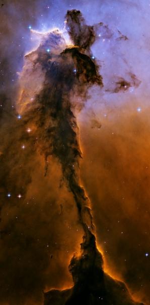 O coloană de gaz, în apropierea nebuloasei Vulturului