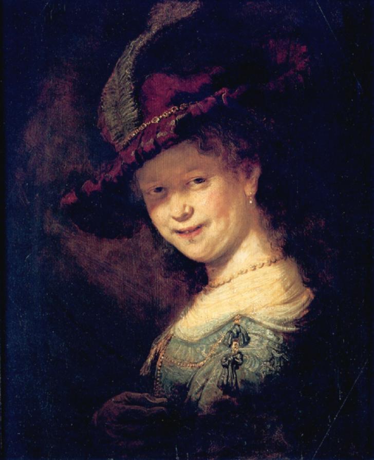 Bustul unei tinere femei zâmbind - unul dintre cele mai cunoscute picturi ale lui Rembrandt (1633))