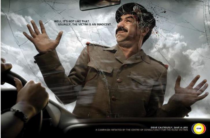 Campanie anti-accidente: Hilter, Stalin şi Sadam Hussein, LOVIŢI DE MAŞINĂ