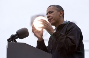 Preşedintele Statelor Unite, Barack Obama, în timpul unui discurs