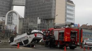 Maşina de Poliţie răsturnată la Tg. Mureş