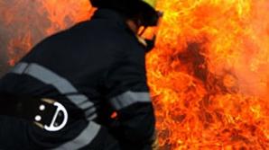 Pompierii intervin cu autospeciale cu apă şi spumă