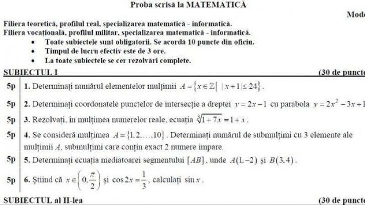 BACALAUREAT 2013, SUBIECTE MATEMATICA date in 2012