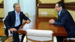 Tony Blair a venit la Guvern, pentru o întâlnire cu Ponta