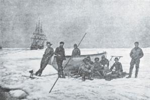 Emil Racoviță și colegii săi din expediția Belgica, în iarna anului 1898