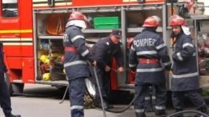 Camion răsturnat pe DN1A. Cabina, cuprinsă de flăcări / Foto: Arhiva