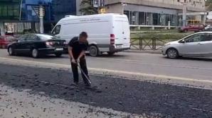 """""""Dorel"""" loveşte din nou. A turnat asfalt peste şinele de tramvai"""