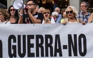 """Proteste în Madrid. Câteva mii de persoane au strigat """"Nu războiului"""""""