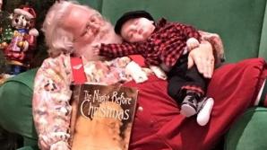 Cea mai drăguță fotografie cu un puști și Moș Crăciun a devenit virală