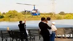 A venit ieri la nunta cu elicopterul! Surpriza in Romania: cine a coborat din el