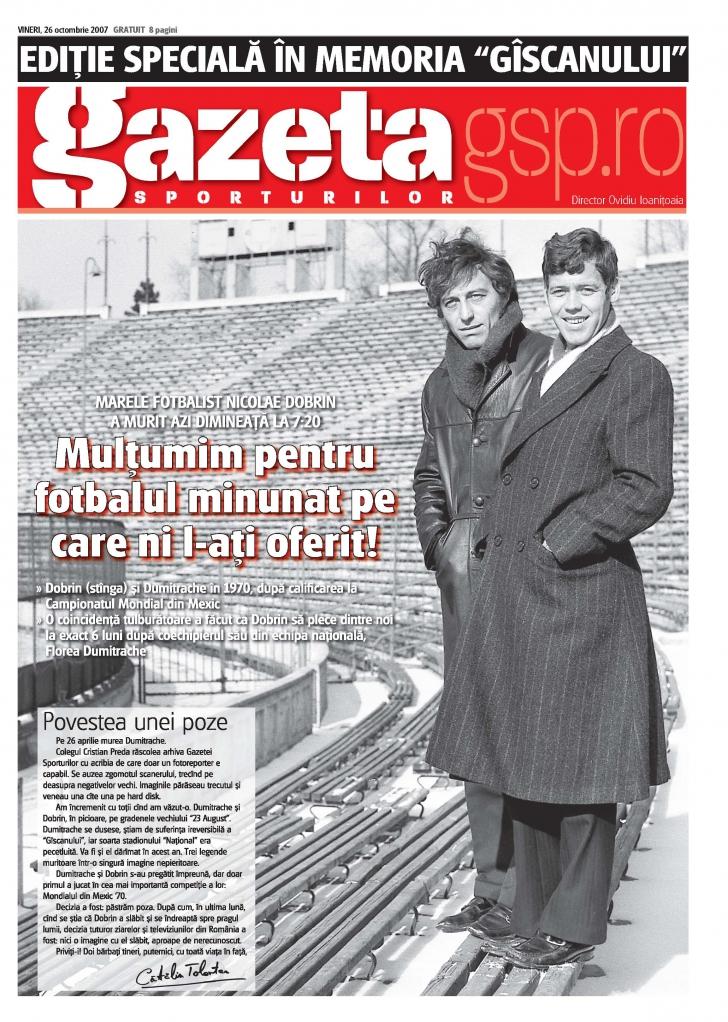 Foto: Gazeta Sporturilor: Ediţia specială în memoria lui Dobrin