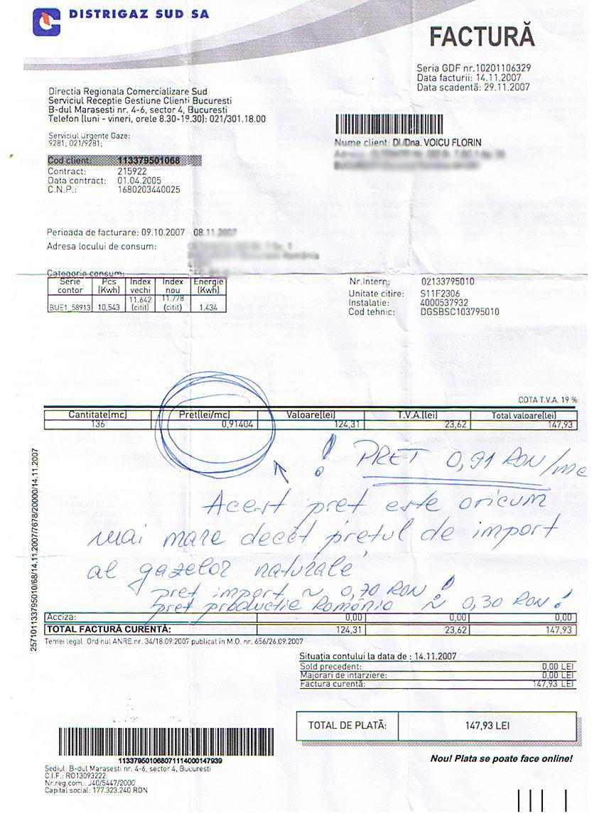 Factura trimisă de Florin Voicu, Bucureşti