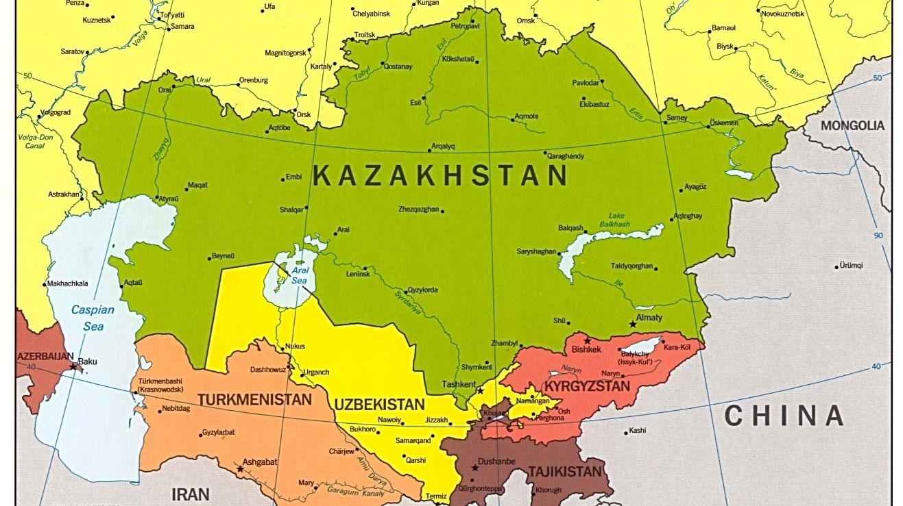 harta uzbekistan kazahstan
