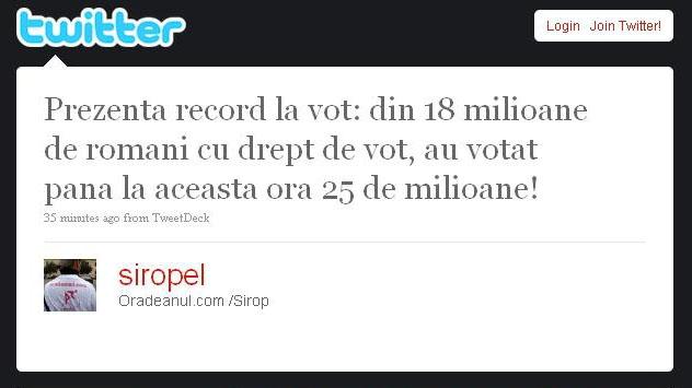 Unul dintre mesajele de pe Twitter care au făcut turul internetului românesc