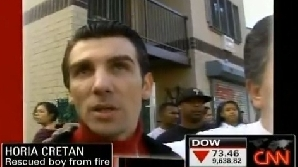 Horia Creţan a salvat un copil dintr-un incendiu
