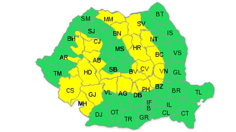 Meteorologii au emis o atenţionare de cod galben / FOTO:meteoromania.ro