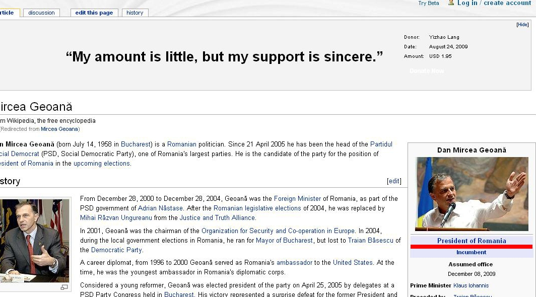 Sub poza lui Mircea Geoana de pe Wikipedia a stat scris cateva minute