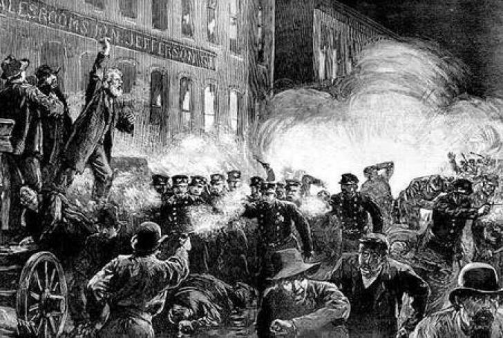 Ziua Muncii - imagine din Piaţa Haymarket, mai 1886