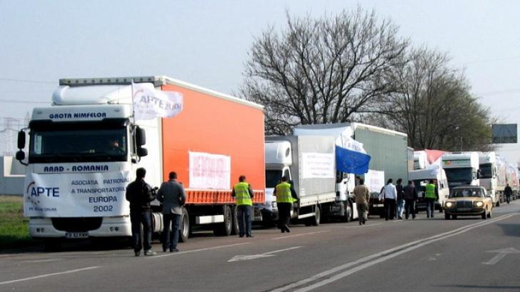 Transportatorii, la protest