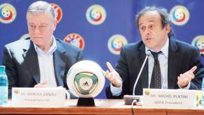 Mircea Sandu, preşedintele FRF, şi Michel Platini, şeful UEFA