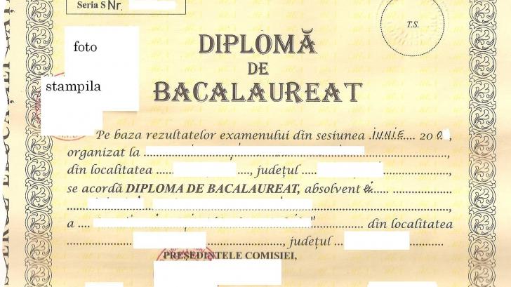 Diplomă de Bacalaureat - imagine cu notă sugestivă