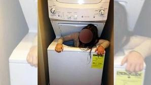 A rămas blocat în maşina de spălat