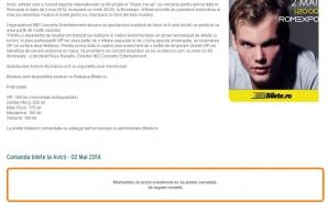 Pagina falsului concert, pe bilete.ro, la două ore după anunţul AVICII că nu va concerta în România