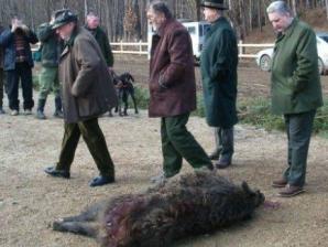 Premierul din 2005, Adrian Năstase, împreună cu Ţiriac la vânătoarea de la Balc
