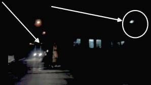 Momentul a fost surprins la o trecere la nivel cu calea ferată din Mediaş.