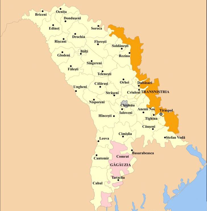 Harta Republicii Moldova, cu Găgăuzia autonomă şi regiunea separatistă transnistreană