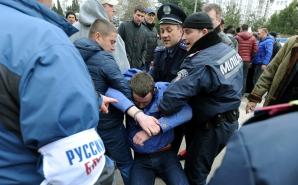 ACTIVIŞTI pro-ucraineni, deţinuţi în Crimeea. FOTO: Mediafax FOTO
