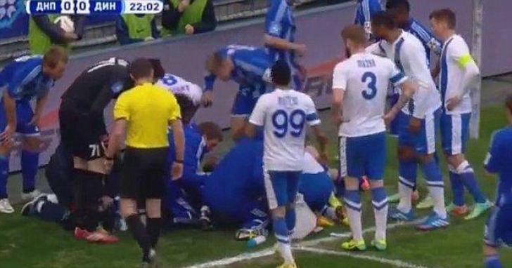 CLIPE HORROR! Căpitanul lui Dinamo Kiev, salvat de la moarte de un adversar