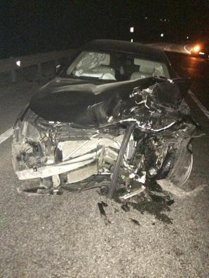 Un BMW făcut praf și abandonat pe centura Apahida - FOTO