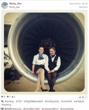 Fotografii postate de stewardese pe reţelele de socializare