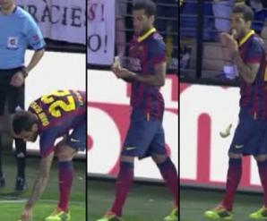 Dani ALVES, atacat cu o banană în timpul meciului, a provocat o campanie antirasistă