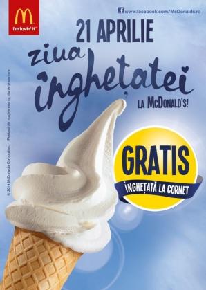 (P) Sărbătoreşte pe 21 aprilie Ziua Îngheţatei de la McDonald's!