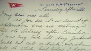 Scrisoare de pe TITANIC, scoasă la licitaţie. VÂNDUTĂ pentru 120.000 de EURO