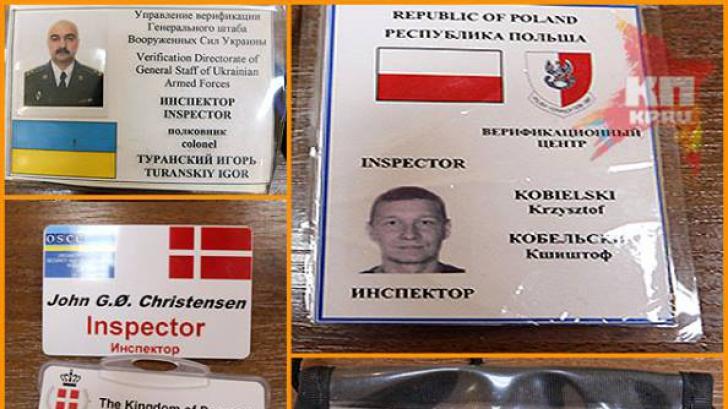 Legitimaţiile observatorilor OSCE, fotografiate şi postate de separatiştii ruşi pe Internet