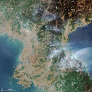 Un satelit NASA a observat zeci de incendii în Coreea de Nord