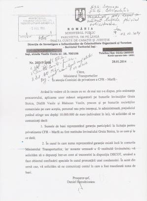 Solicitarea DIICOT către Ministerul Transporturilor