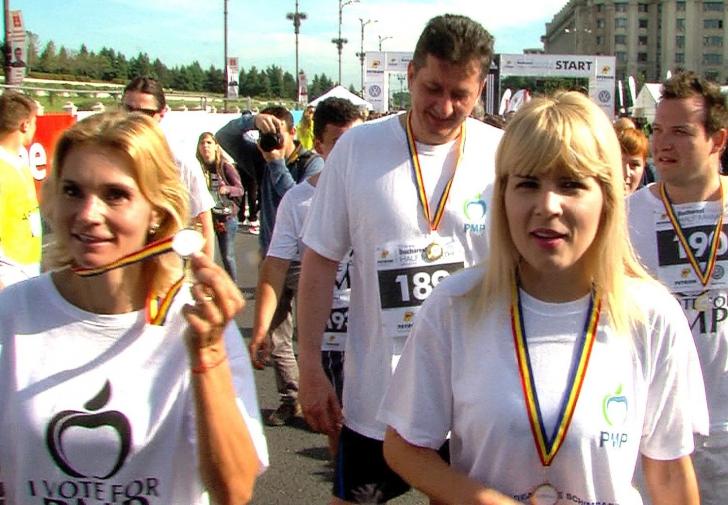 Udrea a alergat în cursa de 2,9 kilometri de la semimaratonul organizat în București
